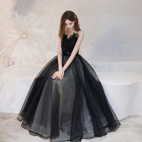 Eleganckie Czarne Taniec Sukienki Na Bal 2021 Princessa Spaghetti Pasy Bez Rękawów Cekinami Tiulowe Długie Wzburzyć Bez Pleców Sukienki Wizytowe