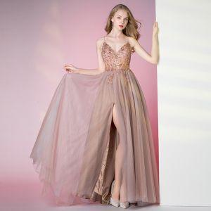 Illusion Perle Rose Transparentes Dansant Robe De Bal 2021 Princesse Bretelles Spaghetti Sans Manches Perlage Faux Diamant Fendue devant Longue Volants Dos Nu Robe De Ceremonie
