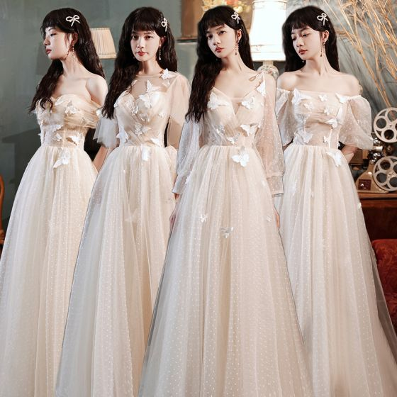Modest / Simple Champagne Bridesmaid Dresses 2021 A-Line / Princess Scoop Neck Butterfly Lace Flower Short Sleeve Backless Floor-Length / Long Wedding Party Dresses