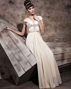Chiffon Floor Length Sabrina Zipper Evening Dresses