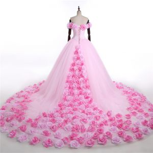Stunning Candy Pink Flower Wedding Dresses 2017 V-Neck Off-The-Shoulder Ruffle Tulle Ball Gown Prom Dresses Chapel Train