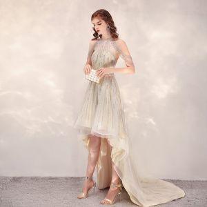 Hög Låg Champagne Genomskinliga Cocktailklänningar 2020 Prinsessa Urringning Ärmlös Handgjort Beading Asymmetrisk Ruffle Formella Klänningar