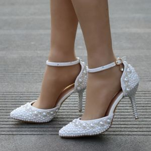 Modern / Fashion White Wedding Shoes 2018 Pearl Rhinestone Ankle Strap 9 cm Stiletto Heels Pointed Toe High Heels Wedding