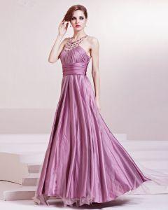 Mode Satin Charmeuse Gaze Perlen Halfter Bodenlangen Abendkleid