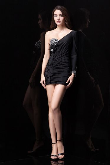 2015 Gorgeous Sheath Beading Pleated Black Cocktail Dress