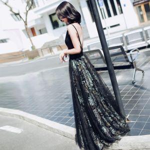 Piękne Czarne Sukienki Wieczorowe 2017 Princessa V-Szyja Koronkowe Druk Wieczorowe Strona Sukienka