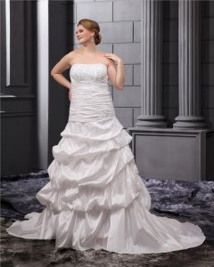 Elegant Beading Court Plus Size Bridal Gown Wedding Dress