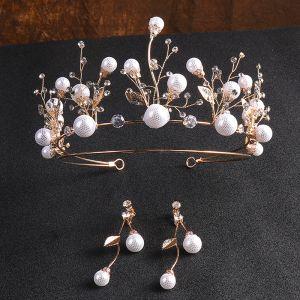 Chic / Beautiful Gold Bridal Jewelry 2020 Metal Rhinestone Pearl Earrings Tiara Bridal Hair Accessories