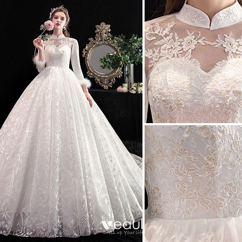 Vintage Retro Chinese Style Ivory Wedding Dresses 2020 A Line