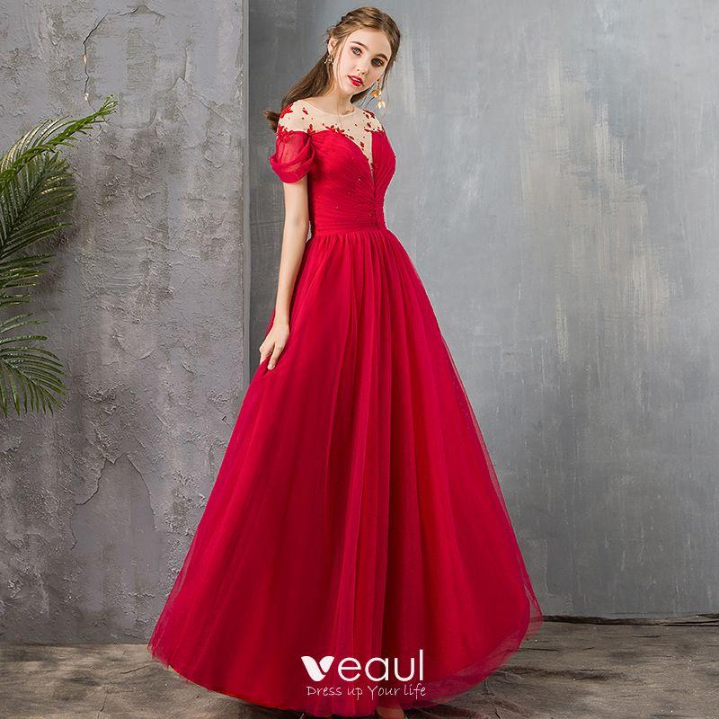 Elegante Rot Durchsichtige Abendkleider 2019 A Linie Eckiger Ausschnitt Kurze Armel Perlenstickerei Lange Ruschen Ruckenfreies Festliche