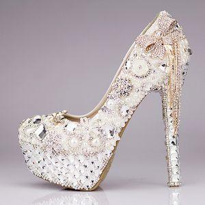 Chic / Belle 2017 14 cm Blanche Désinvolte PU Cristal Faux Diamant Talons Hauts Talons Aiguilles Escarpins Chaussure De Mariée