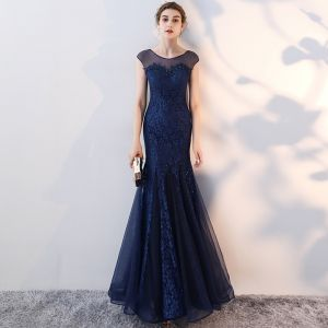 Chic / Beautiful Navy Blue Evening Dresses  2017 Trumpet / Mermaid Lace Flower Scoop Neck Sleeveless Ankle Length Formal Dresses