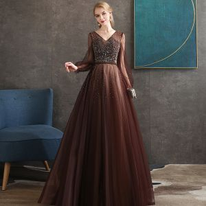 Best Brown Evening Dresses  2020 A-Line / Princess V-Neck Puffy Long Sleeve Beading Floor-Length / Long Backless Formal Dresses