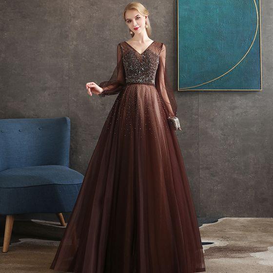 Best Brown Evening Dresses  2020 A-Line / Princess V-Neck Puffy Long Sleeve Beading Floor-Length / Long Backless Formal Dresses