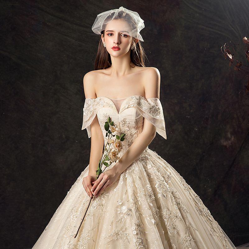 Audrey Hepburn-Stil Champagner Brautkleider / Hochzeitskleider 2019 Ballkleid Off Shoulder Spitze Blumen Pailletten Kurze Ärmel Rückenfreies Königliche Schleppe