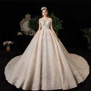 High-end Champagne Wedding Dresses 2020 A-Line / Princess Scoop Neck Beading Tassel Sequins Rhinestone Lace Flower Sleeveless Backless Cathedral Train
