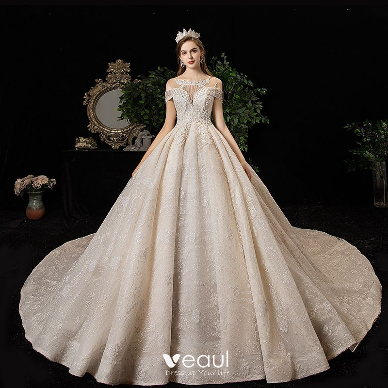 High End Champagne Wedding Dresses 2020 A Line Princess Scoop Neck Beading Tassel Sequins Rhinestone Lace Flower Sleeveless Backless Cathedral Train