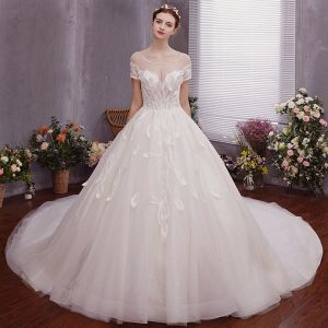 Charming Ivory Wedding Dresses 2019 A-Line / Princess Scoop Neck Beading Appliques Short Sleeve Backless Cathedral Train