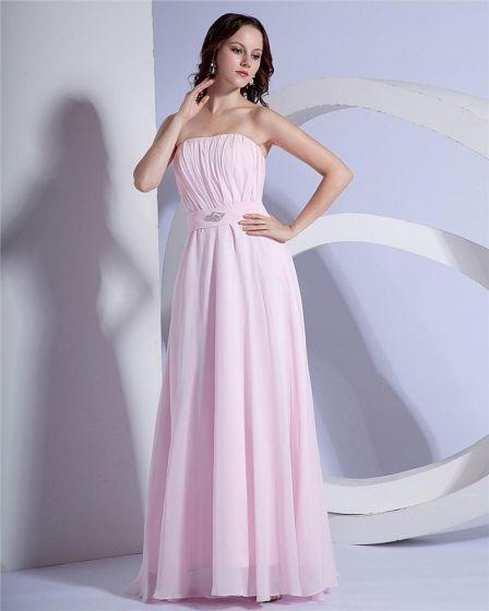 Women A-Line Strapless Floor-Length Chiffon Evening Party Dress
