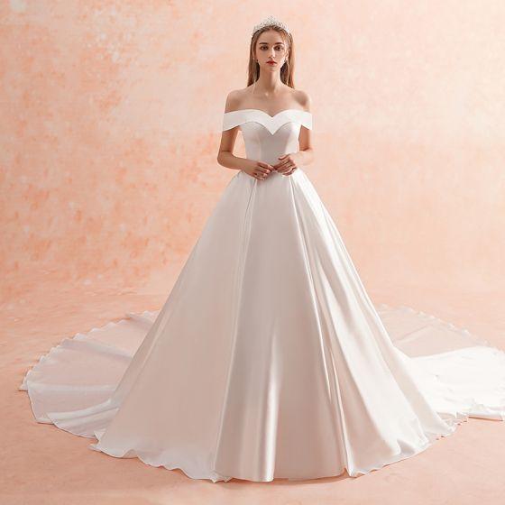 Schlicht Ivory Creme Brautkleider Hochzeitskleider 2019 A Linie