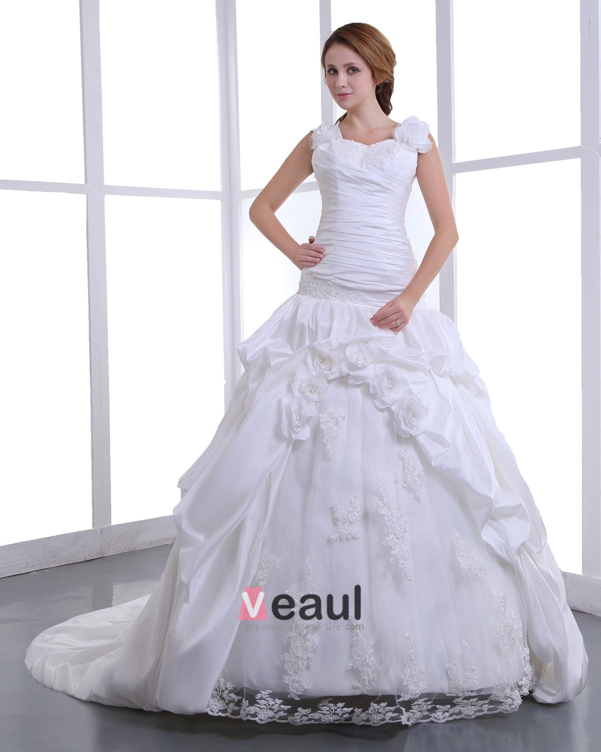 Square Taffeta Embroidery Bead Cathedral Train A-Line Wedding Dress