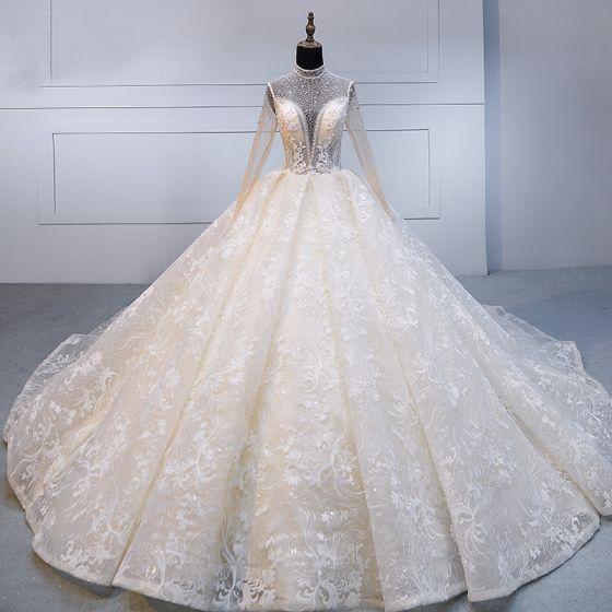 Wysokiej Klasy Szampan Wykonany Ręcznie Frezowanie Suknie Ślubne 2020 Suknia Balowa Wysokiej Szyi Rhinestone Z Koronki Kwiat Długie Rękawy Bez Pleców Trenem Królewski