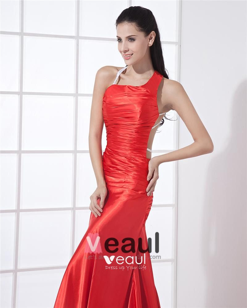 One Shoulder Sleeveless Backless Pleated Floor Length Charmeuse Woman Prom Dress