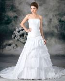 Strapless Taffeta Pleated Layered Floor Length Chapel Train A Line Wedding Dress
