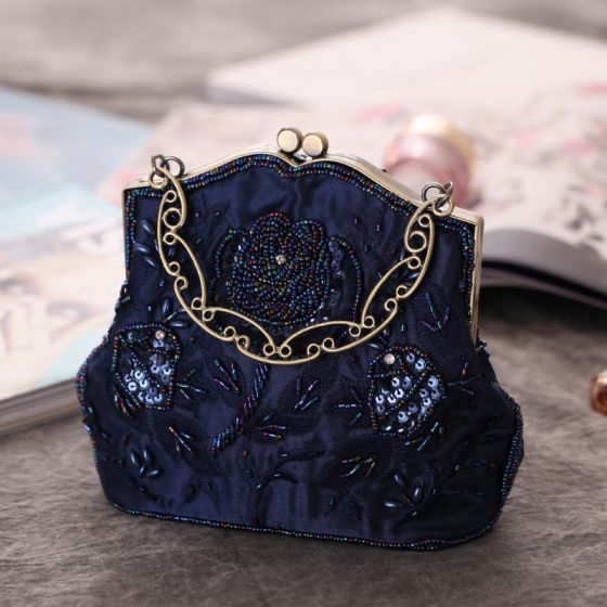 Vintage / Retro Navy Blue Sequins Beading Pearl Embroidered Clutch Bags 2019
