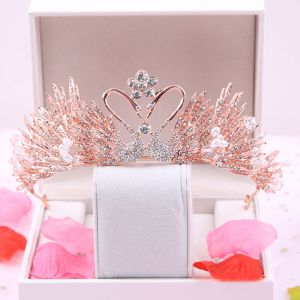 Amazing / Unique Rose Gold Bridal Hair Accessories 2020 Metal Rhinestone Tiara Wedding Accessories