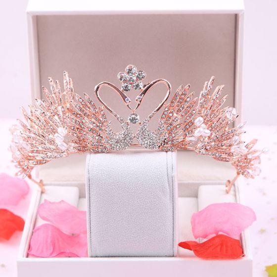 Amazing / Unique Rose Gold Bridal Hair Accessories 2020 Metal Rhinestone Tiara Wedding Accessories