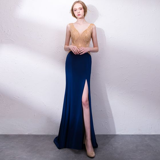 Sexy Navy Blue Evening Dresses  2018 Trumpet / Mermaid Rhinestone V-Neck Backless Sleeveless Sweep Train Formal Dresses