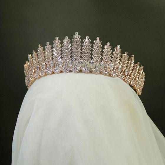 High-end Gull Tiara Har Tilbehor 2020 Legering Zirkon Rhinestone Bryllup Tilbehør