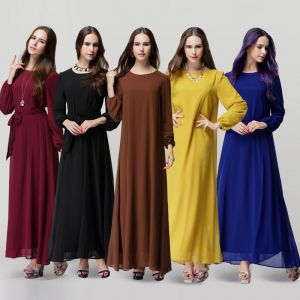 Eenvoudige Chiffon Maxi-jurken 2018 Ronde Hals Lange Mouwen Enkellange Dameskleding