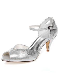 Sparkly Bruidssandalen Naaldhakken Zilveren Glitter Trouwschoenen Met Enkelbandje