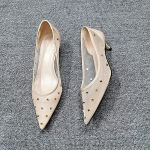 Chic / Beautiful Beige Casual Tulle Pumps 2020 Rivet 4 cm Stiletto Heels Low Heel Pointed Toe Pumps