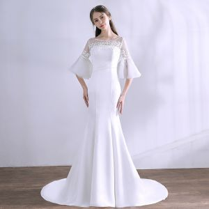 Amazing / Unique White Wedding Dresses 2018 Trumpet / Mermaid Appliques Scoop Neck Backless 3/4 Sleeve Wedding