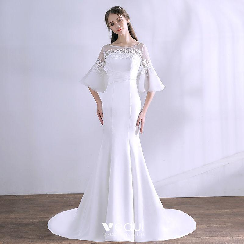 Amazing Unique White Wedding Dresses 2018 Trumpet Mermaid Appliques Scoop Neck Backless 3 4 Sleeve Wedding