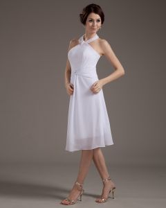 Mini Halter Chiffon Satin Knee Length Wedding Dresses