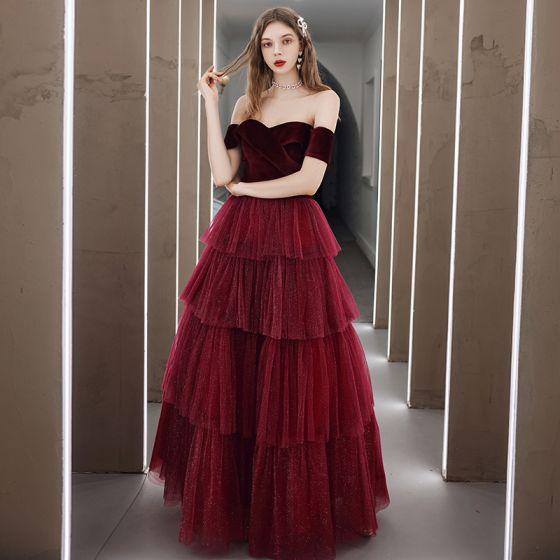 Fashion Burgundy Velour Winter Dancing Prom Dresses 2020 A-Line / Princess Off-The-Shoulder Short Sleeve Glitter Tulle Floor-Length / Long Cascading Ruffles Backless Formal Dresses