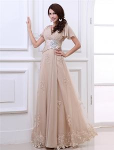 Chiffon Lace Ruffle Applique V Neck Floor Length Evening Dresses