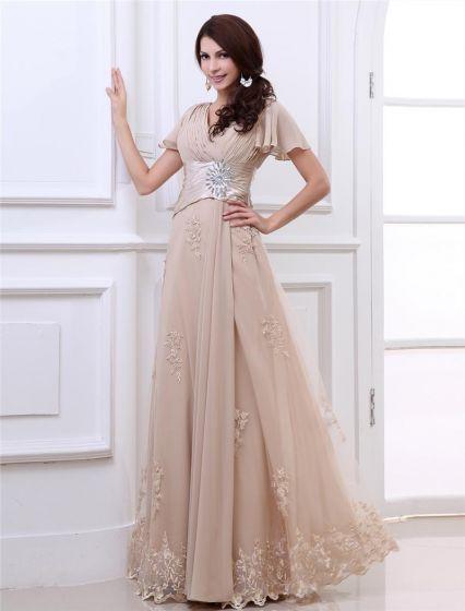 Chiffon Lace Ruffle Applique V Neck Floor Length Evening Dresses