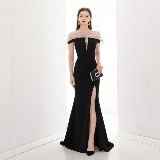 Moda Czarne Sukienki Wieczorowe 2020 Syrena / Rozkloszowane Przy Ramieniu Kótkie Rękawy Spleciona Tiulowe Podział Przodu Trenem Sweep Bez Pleców Sukienki Wizytowe