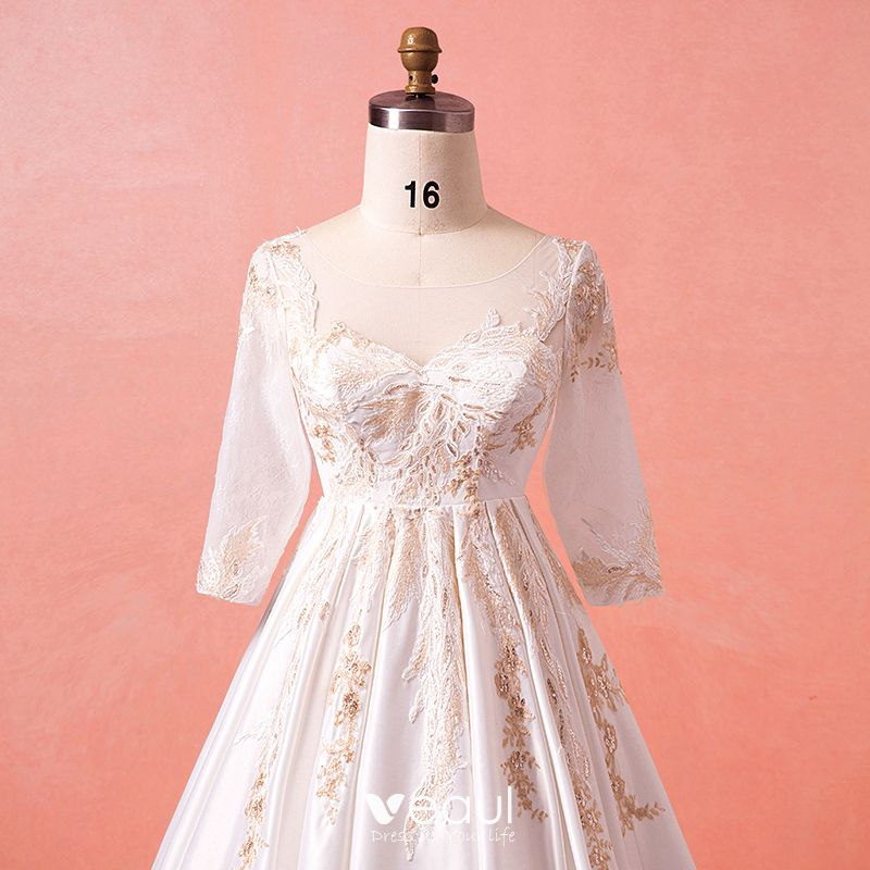 Luxury / Gorgeous Ivory Chapel Train Plus Size Wedding Dresses 2018 U-Neck  Charmeuse Lace-up Appliques Beading Sequins Backless Wedding