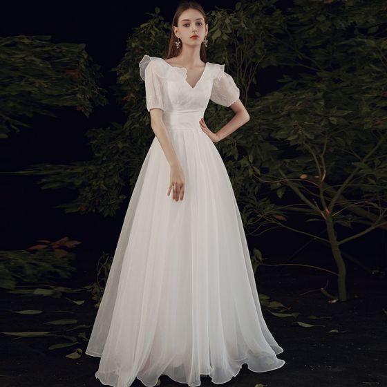Affordable White Chiffon Outdoor / Garden Wedding Dresses 2021 A-Line / Princess V-Neck Puffy Short Sleeve Backless Floor-Length / Long Ruffle