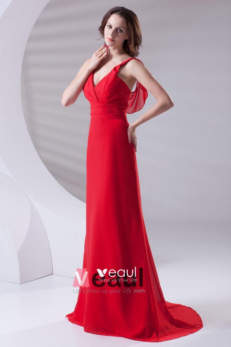 Slim Ruffle Design V Neck Floor Length Chiffon Bridesmaid Dress