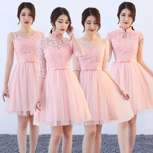 Affordable Pearl Pink Bridesmaid Dresses 2018 A-Line / Princess Bow Sash Short Ruffle Backless Wedding Party Dresses