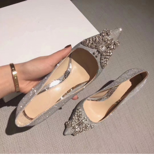 Sparkly Silver Evening Party Pumps 2019 Leather Sequins Rhinestone Butterfly 8 cm Stiletto Heels Pointed Toe Pumps