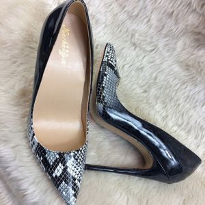 Chic / Beautiful Black Casual Pumps 2019 Leather Snakeskin Print 12 cm Stiletto Heels Pointed Toe Pumps