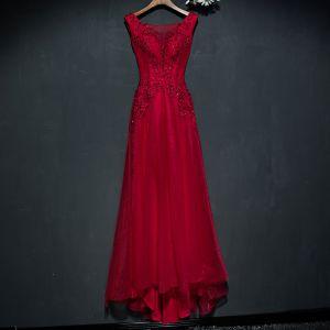 Hermoso Rojo Vestidos Formales Vestidos de noche 2017 De Encaje Flor Sin Mangas Escote Cuadrado A-Line / Princess